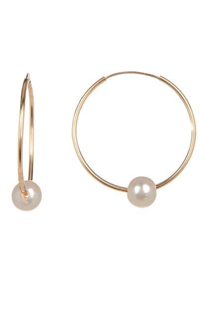 Image of Splendid Pearls 14K Yellow Gold White 6mm Freshwater Pearl Hoop Earrings