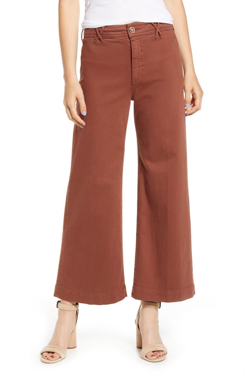 PAIGE Anessa Wide Leg Crop Jeans, Main, color, WARM CAMEL