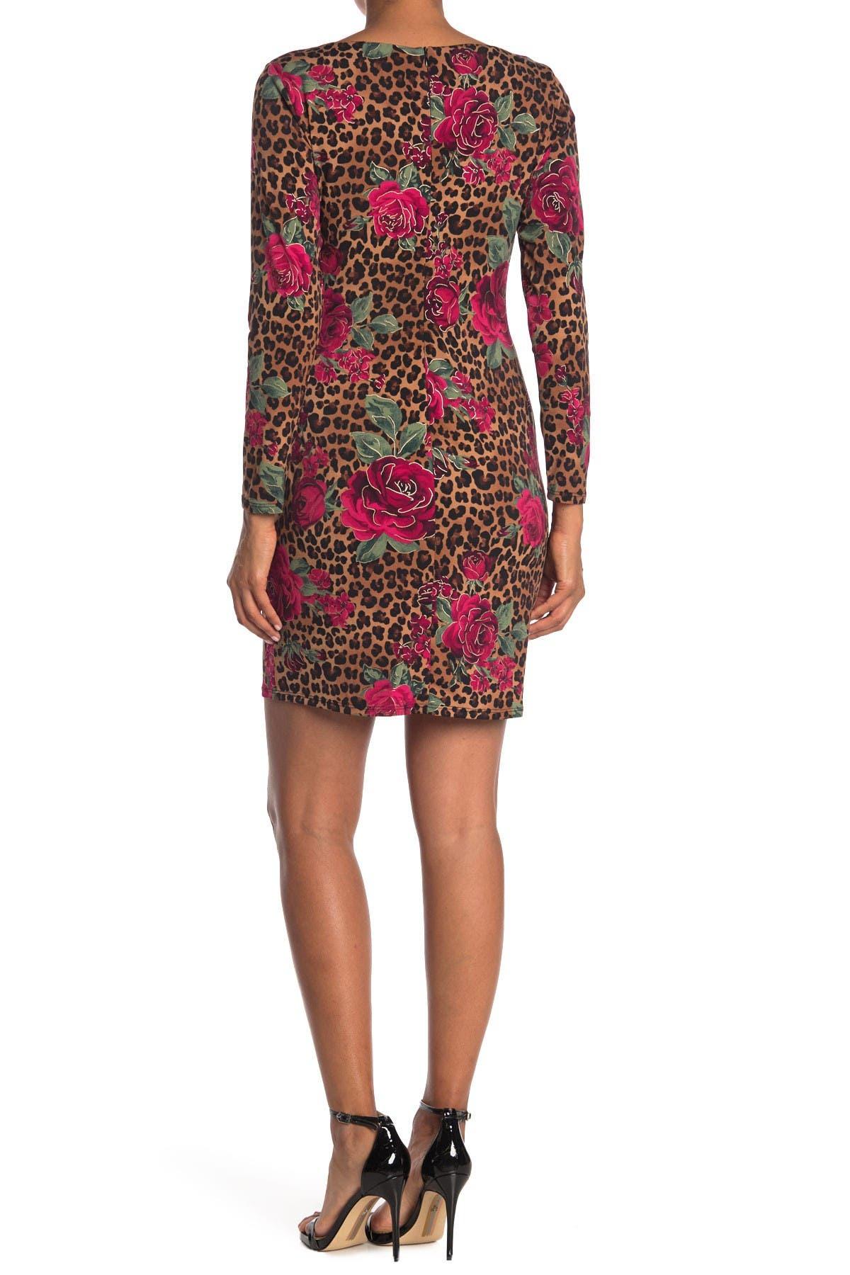 Image of TASH + SOPHIE Leopard Floral Front Twist Dress