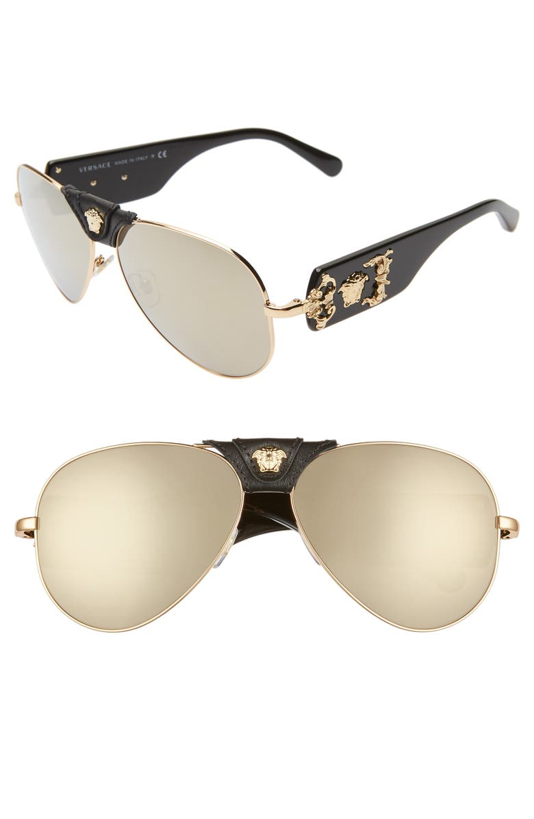 VERSACE Medusa 62mm Aviator Sunglasses, Main, color, GOLD/ BLACK/ BROWN MIRROR