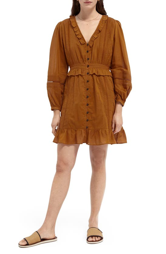 Scotch & Soda LONG SLEEVE BUTTON FRONT ORGANIC COTTON DRESS