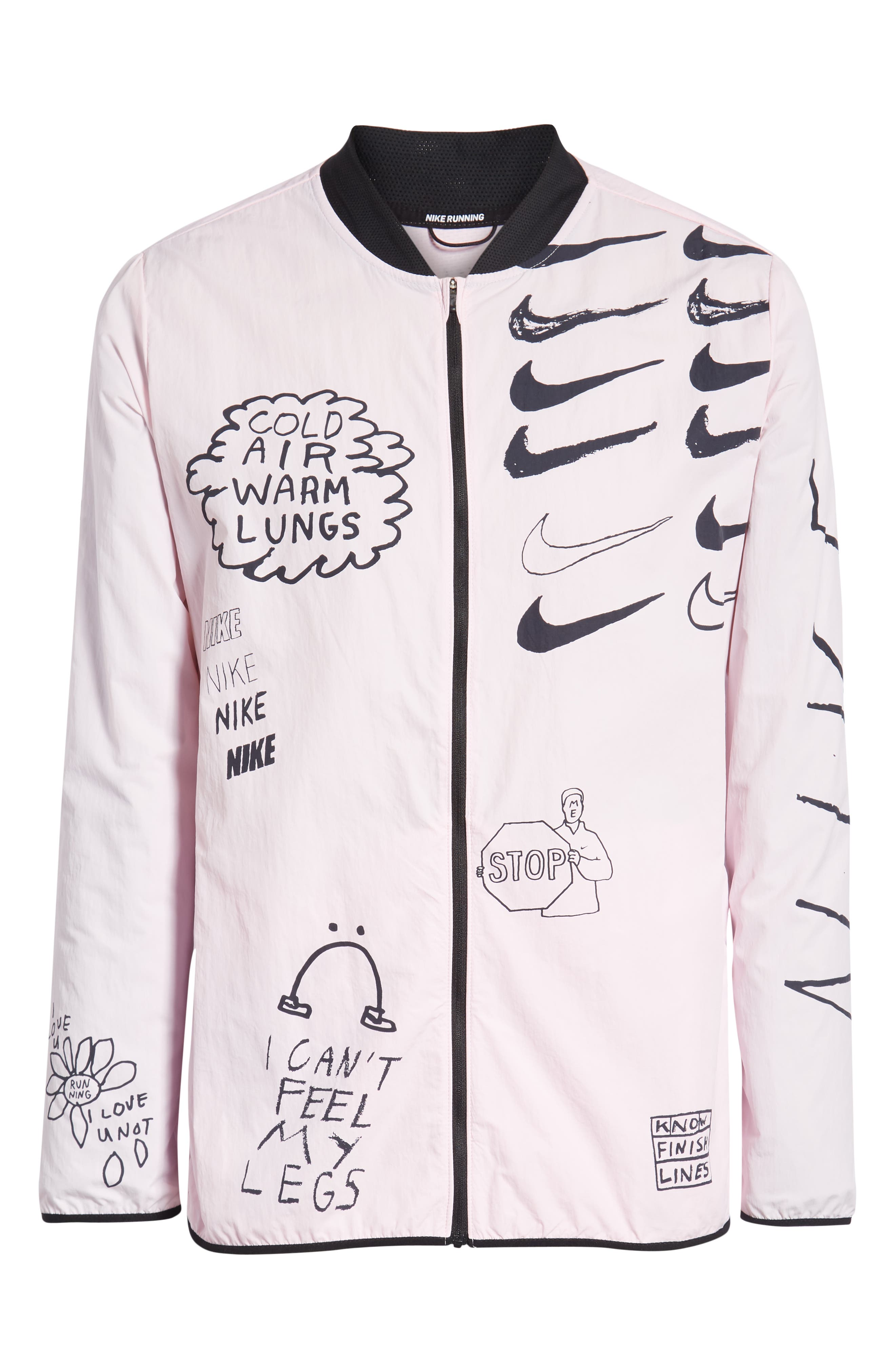 ,                             x Nathan Bell Water Repellent Printed Running Jacket,                             Alternate thumbnail 7, color,                             PINK FOAM