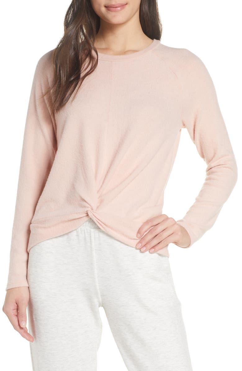 SOCIALITE Twist Front Brushed Hacci Sweatshirt, Main, color, BLUSH