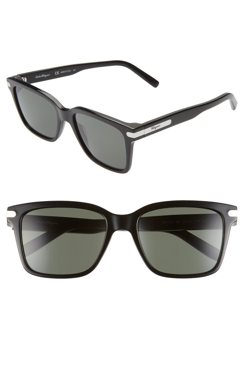 SALVATORE FERRAGAMO Classic Logo 55mm Rectangle Sunglasses, Main, color, BLACK
