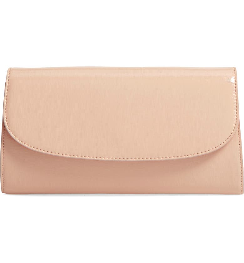 NORDSTROM Leather Clutch, Main, color, BEIGE ALMOND