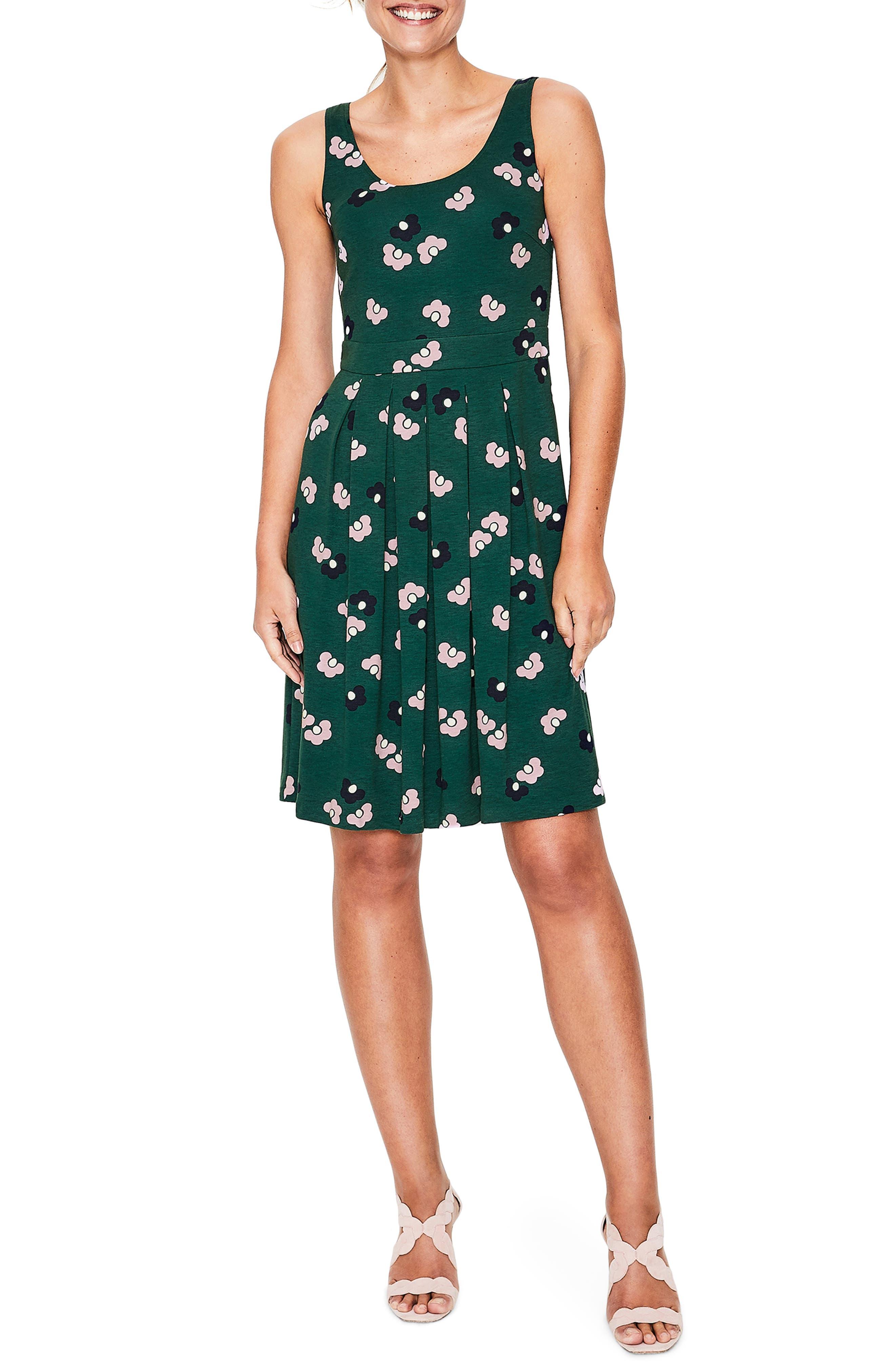 Boden Joanna Fit & Flare Ponte Dress, Green