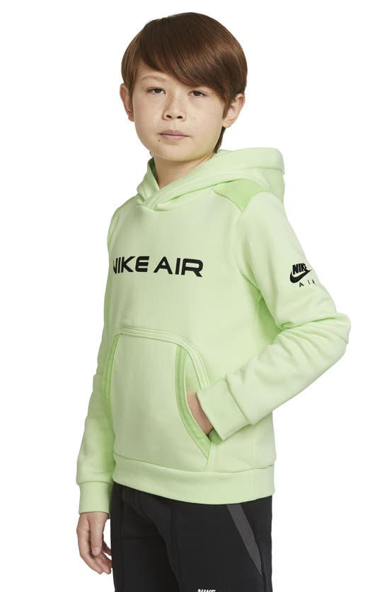 Nike Air Big Kids' Fleece Pullover Hoodie In Liquid Lime/ Key Lime/ Black