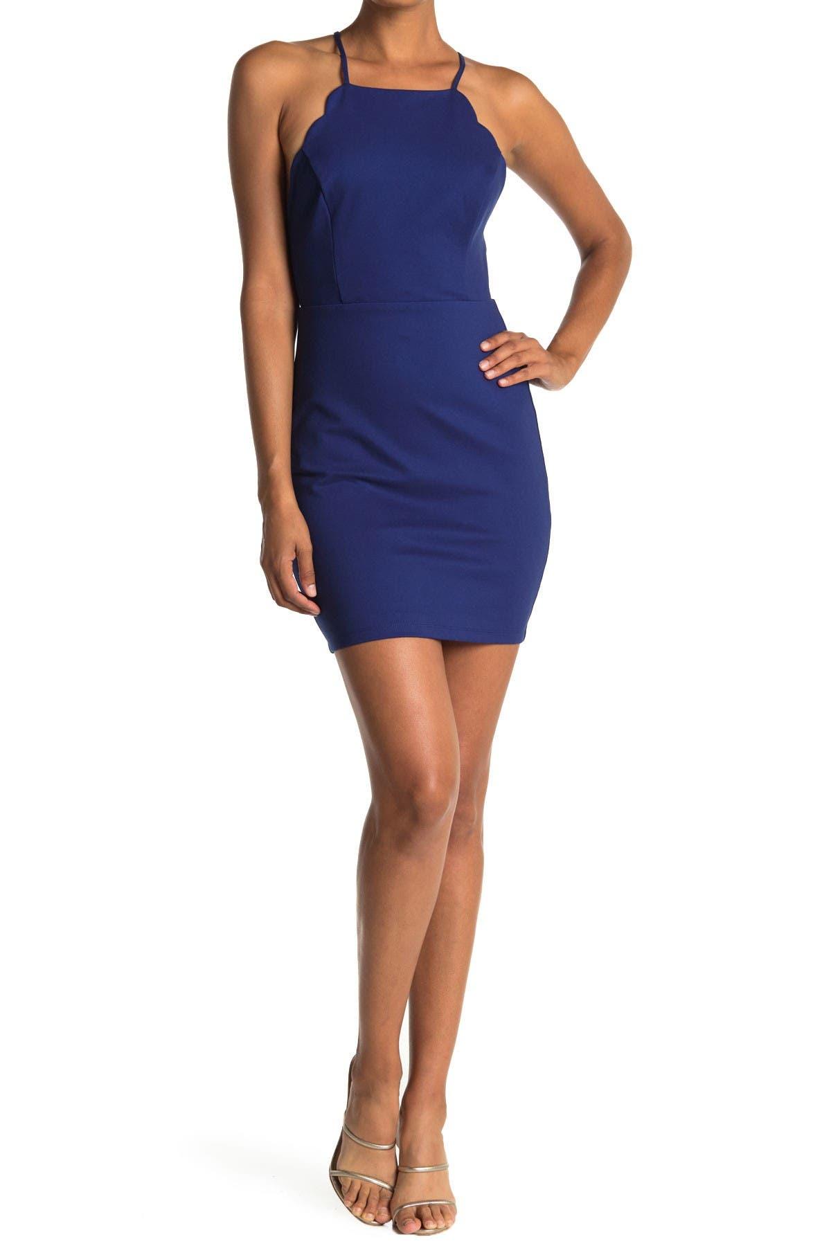Image of Lush Scalloped Sleeveless Dress