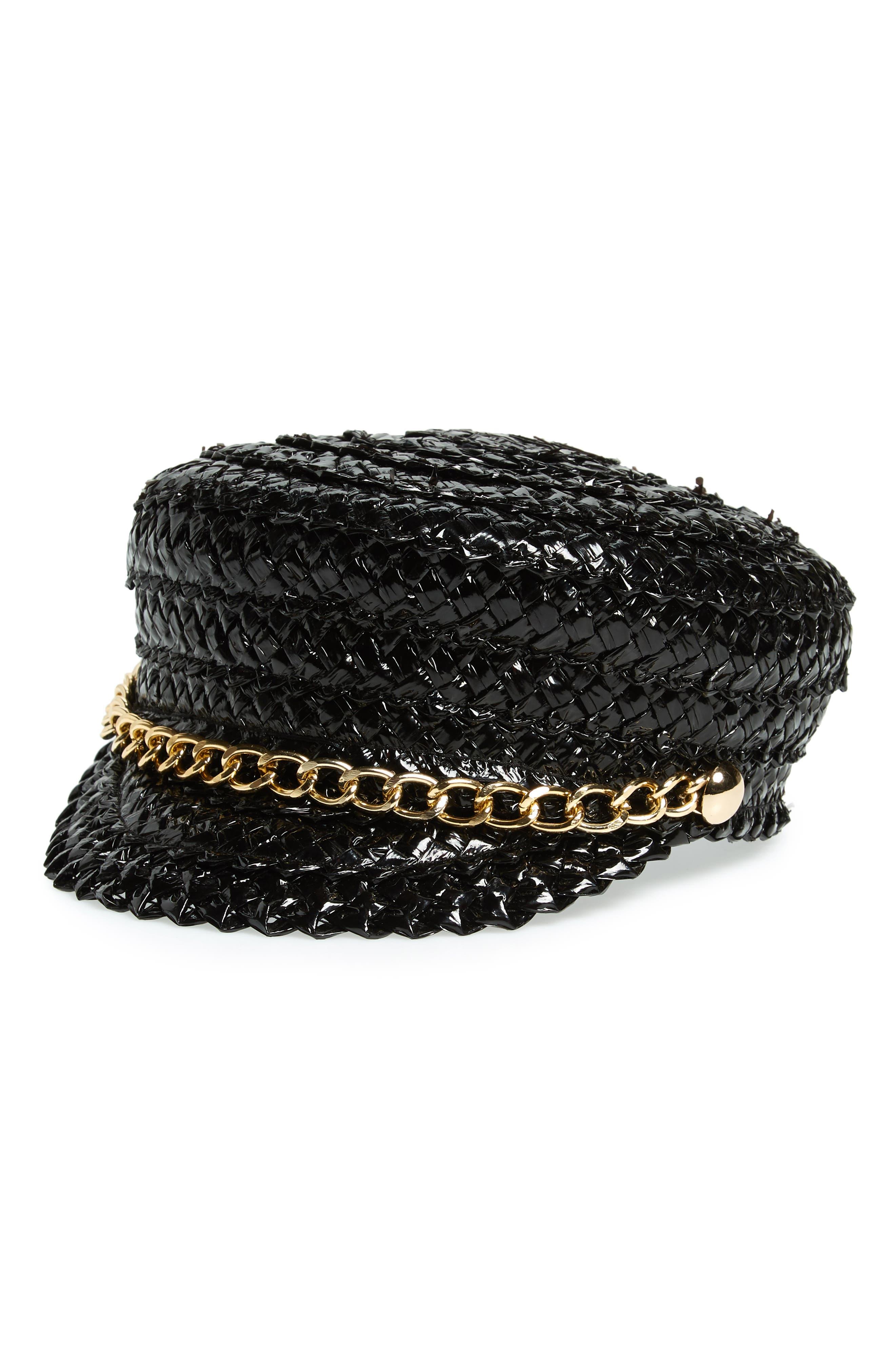Sabrina Woven Cap, Main, color, BLACK