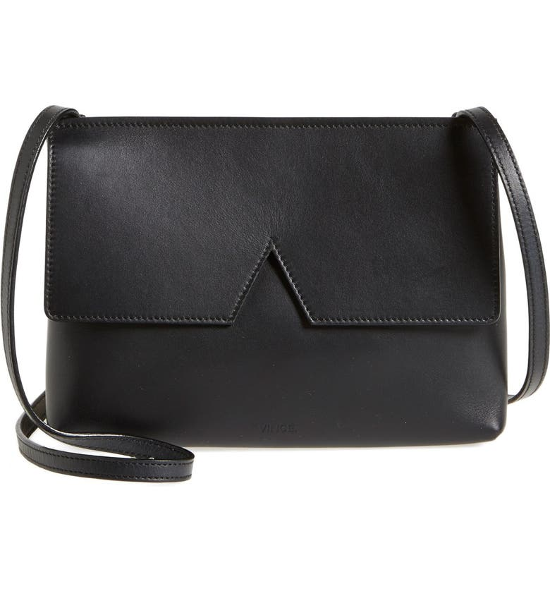 VINCE 'Signature Collection - Small' Leather Crossbody Bag, Main, color, 001