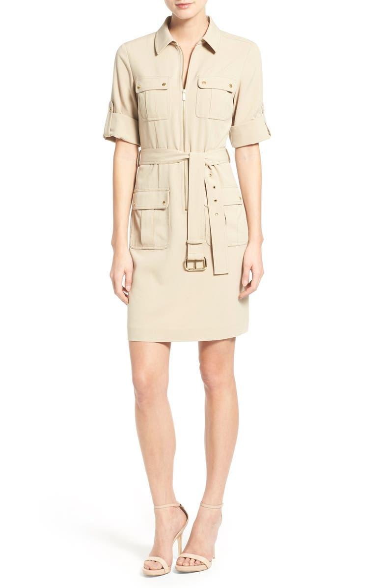 58e0ce2ffe0 MICHAEL Michael Kors Belted Front Zip Shirtdress | Nordstrom