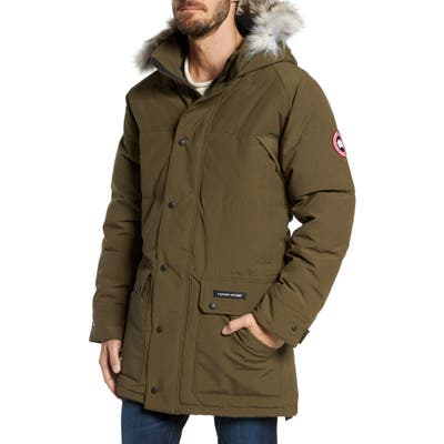 Canada Goose Emory Slim Fit Genuine Coyote Fur Trim Parka, Green