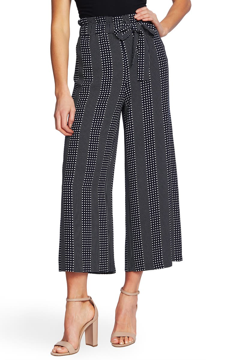 CECE Dot Stripe Crop Wide Leg Pants, Main, color, CAVIAR