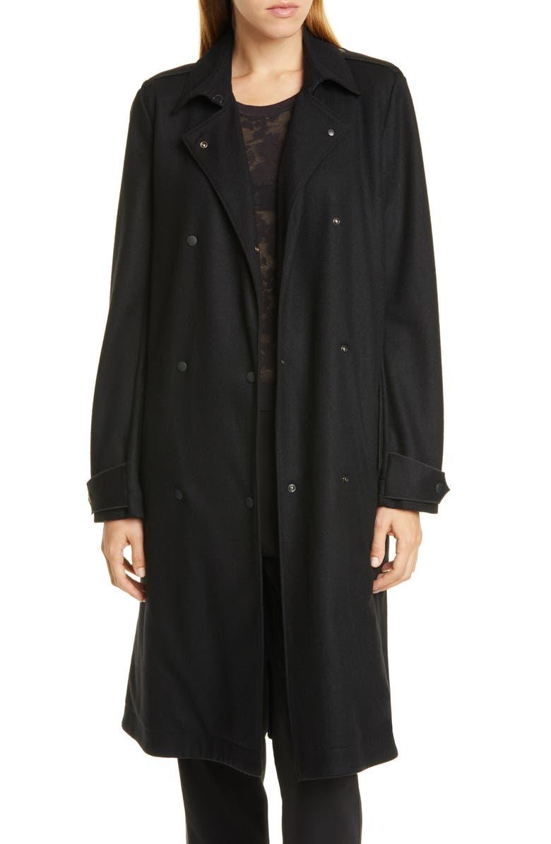 RAG & BONE Eunice Wool Trench Coat, Main, color, BLK