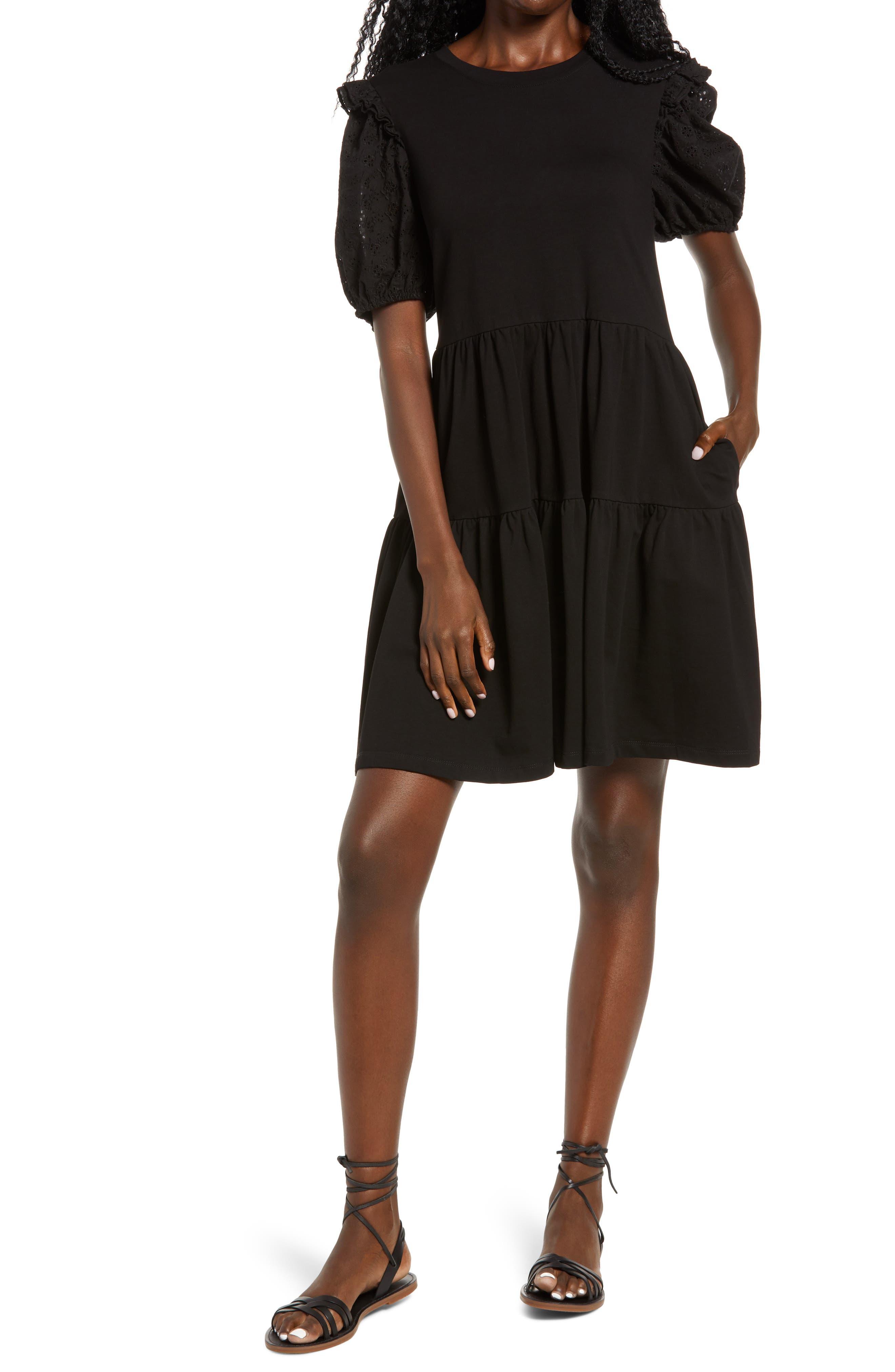 Eyelet Sleeve Knit Dress