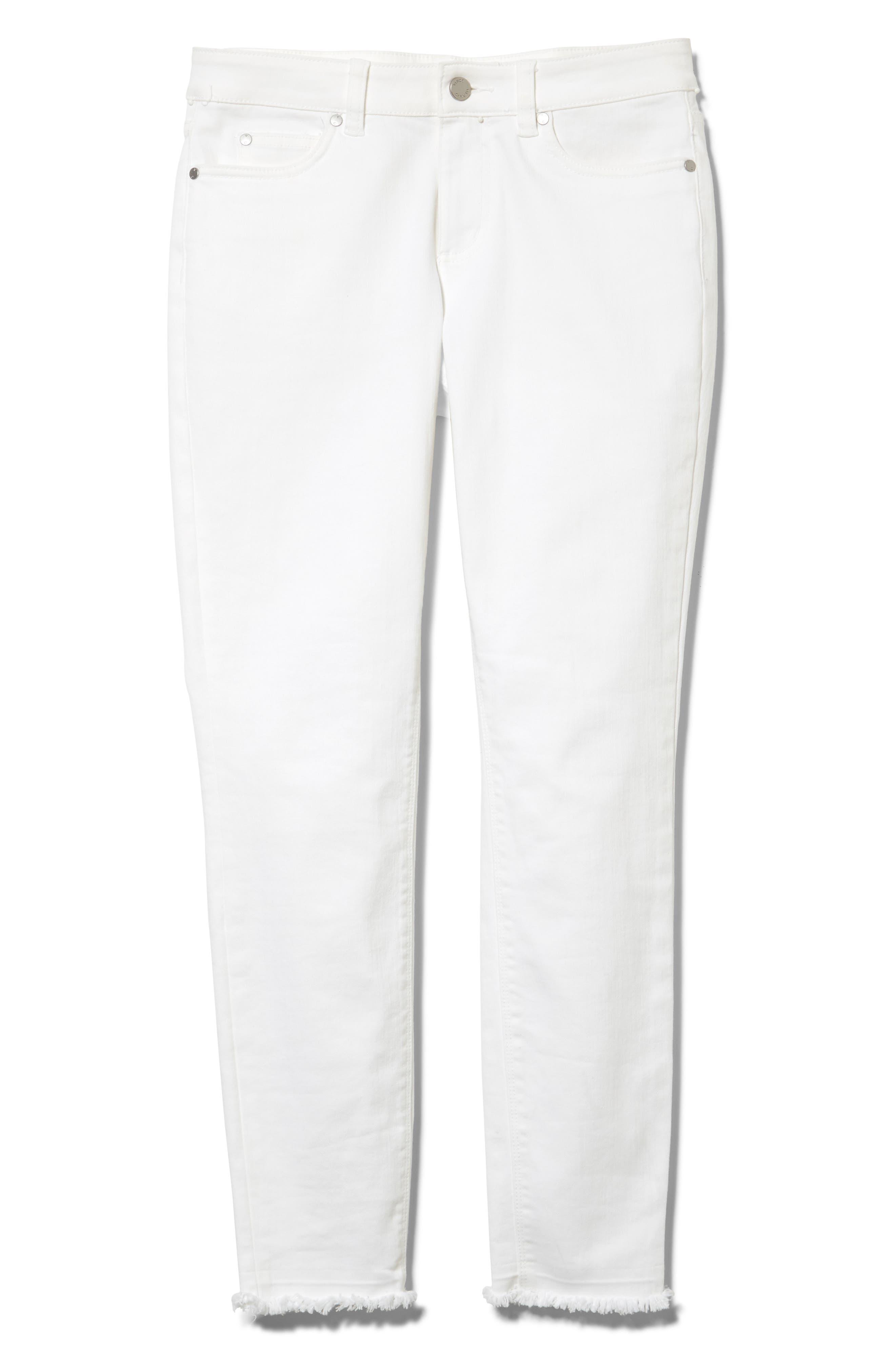 ,                             Fray Hem Skinny Jeans,                             Alternate thumbnail 3, color,                             ULTRA WHITE
