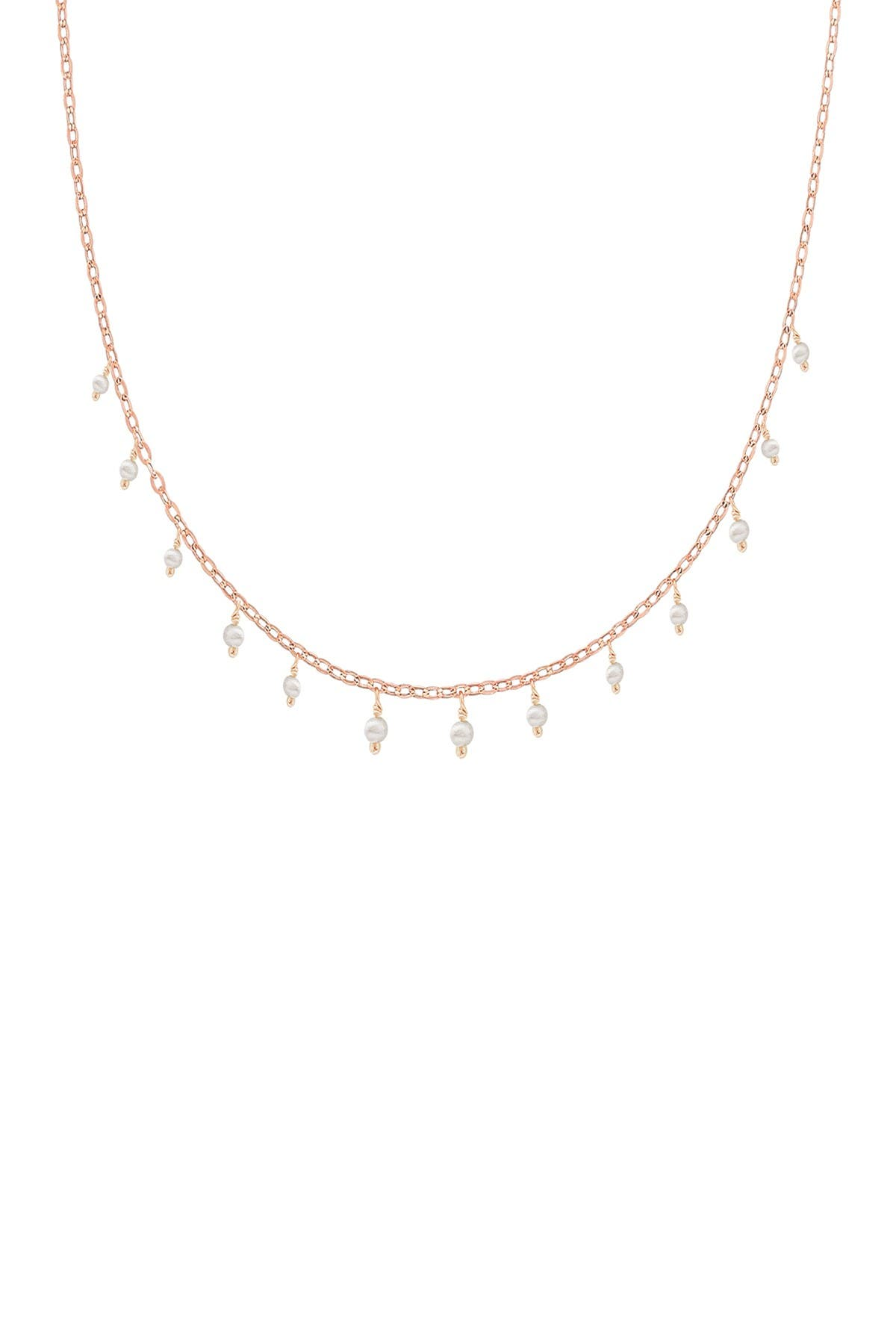 Image of Savvy Cie 18K Rose Gold Vermeil 2.5mm Japanese Seed Pearl Choker Necklace