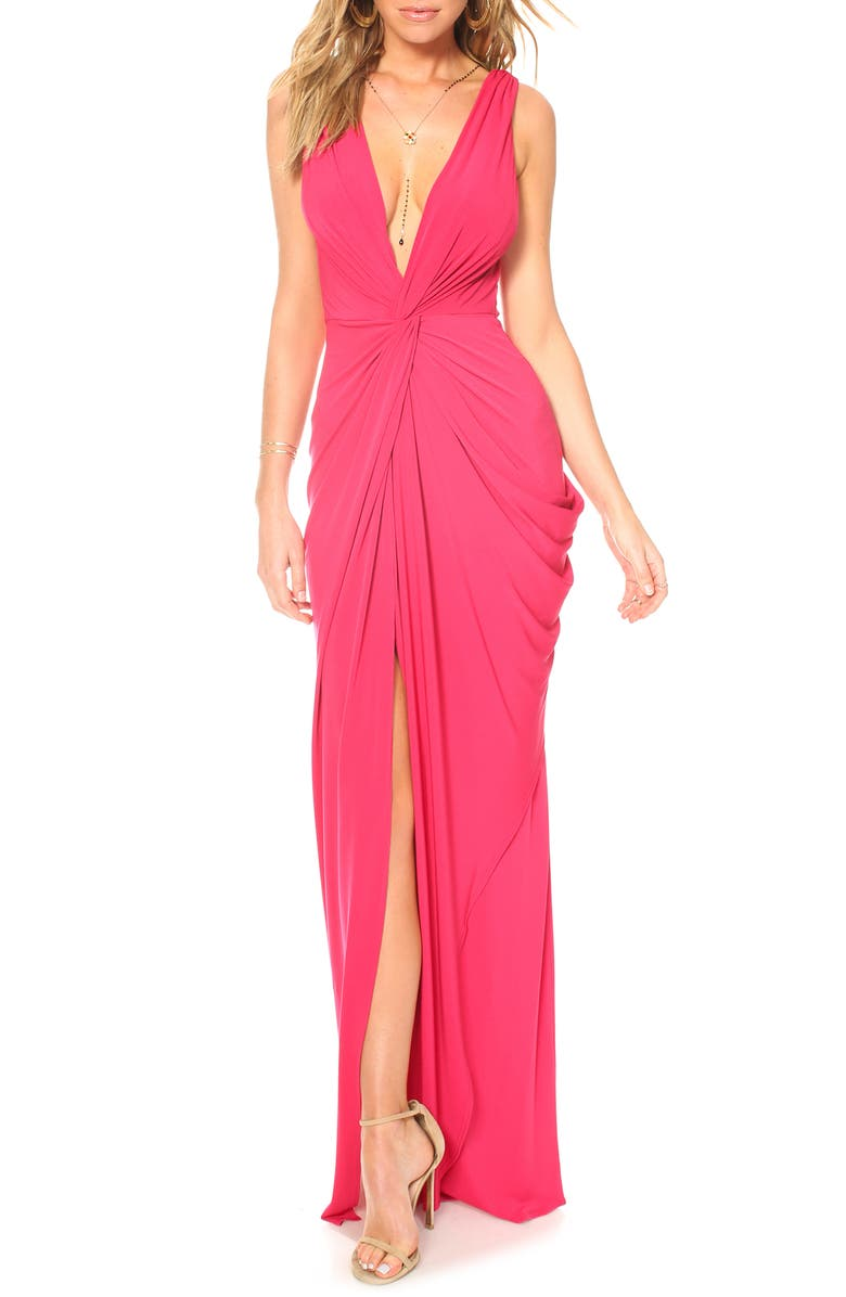 KATIE MAY Leo Twist Front Evening Dress, Main, color, RUBY