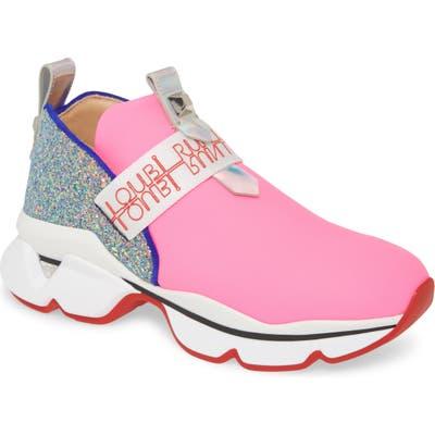 Christian Louboutin Lipsyrun Logo Strap Slip-On Platform Sneaker - Pink