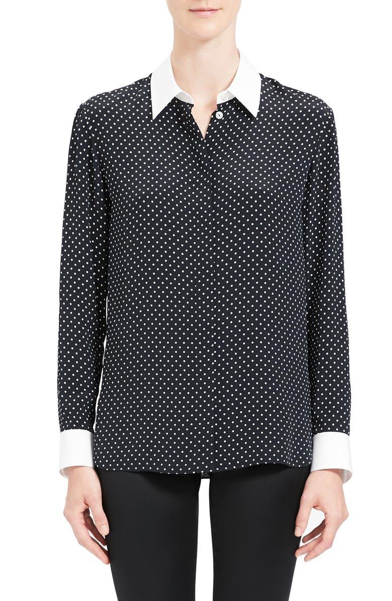 THEORY Polka Dot Shirt, Main, color, BLACK MULTI