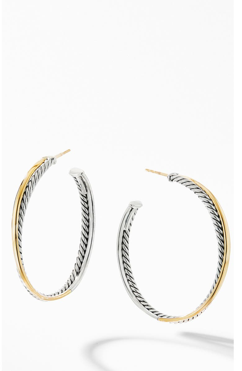 DAVID YURMAN Crossover<sup>®</sup> XL Hoop Earrings with 18K Yellow Gold, Main, color, SILVER/ GOLD