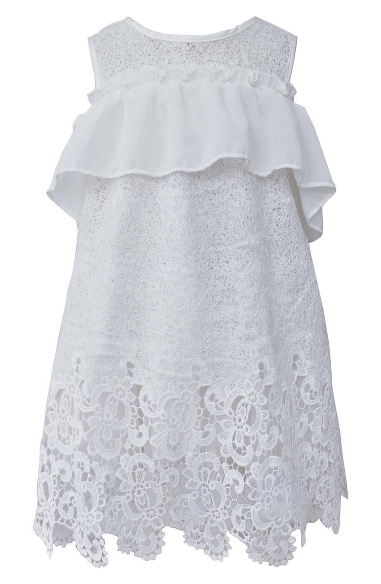 POPATU Ruffle Lace Shift Dress, Main, color, 100