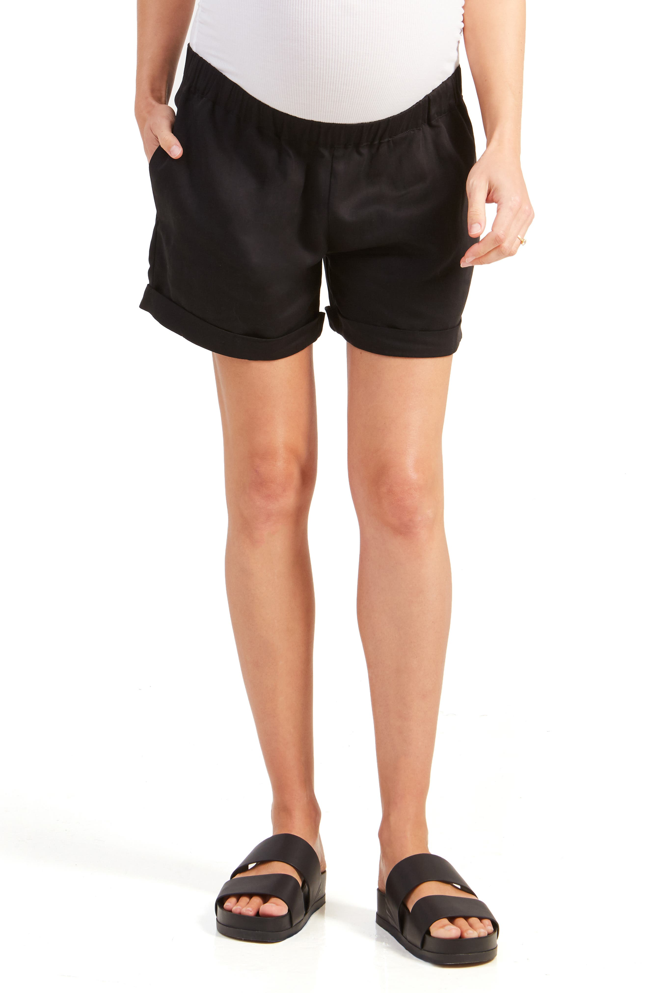 Ingrid & IsabelR Women's Ingrid & Isabel Under Belly Elastic Waist Shorts,  Large - Black