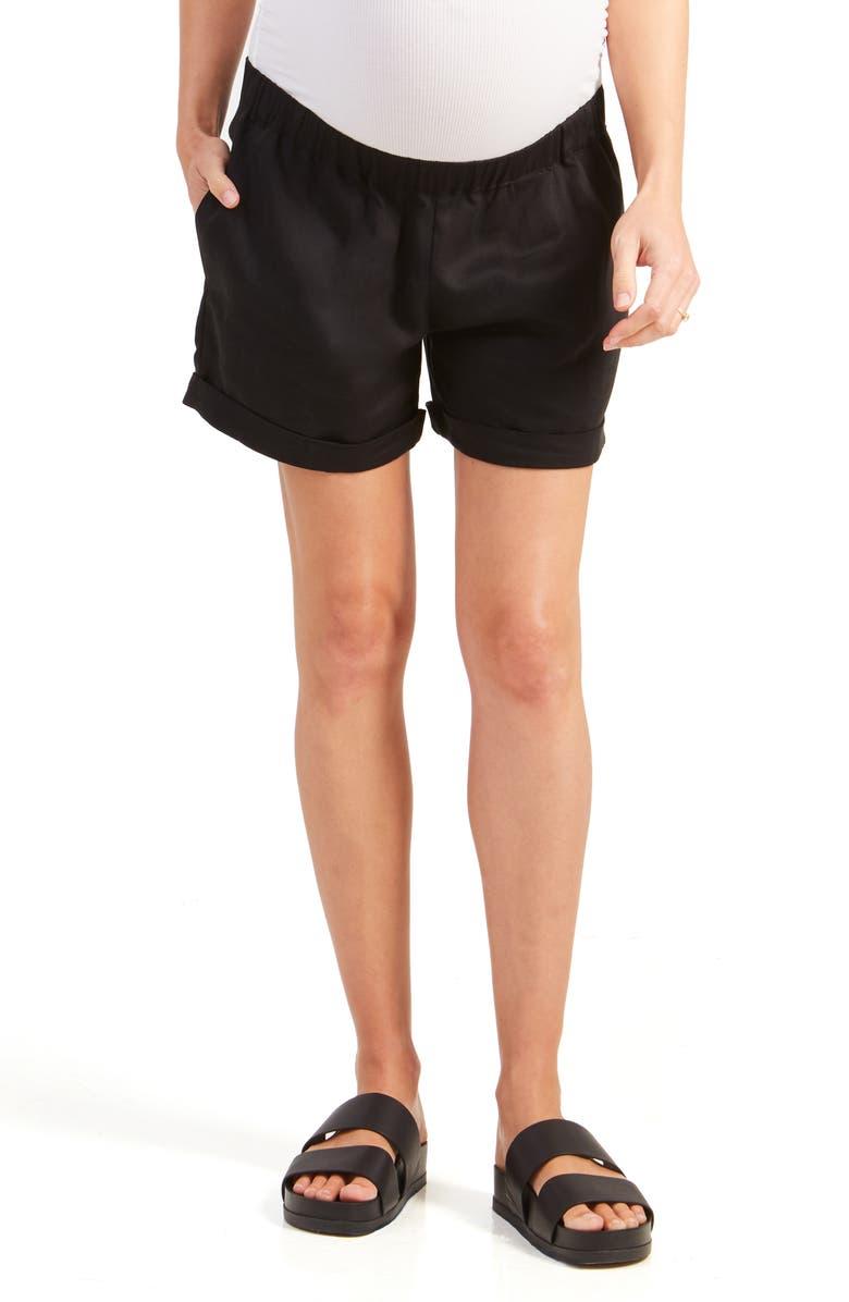 INGRID & ISABEL<SUP>®</SUP> Under Belly Elastic Waist Shorts, Main, color, JET BLACK