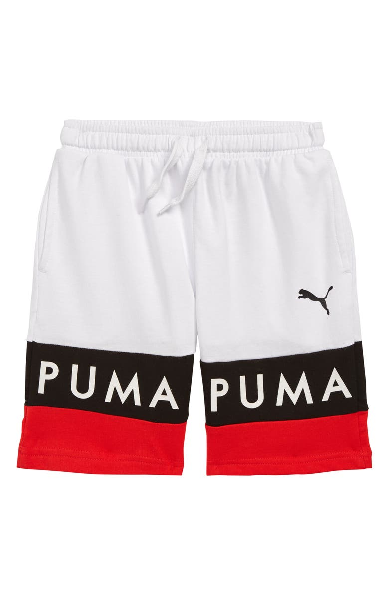 PUMA Colorblock French Terry Shorts, Main, color, 100