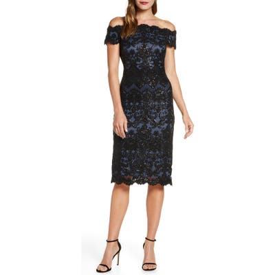 Tadashi Shoji Off The Shoulder Sequin Lace Cocktail Dress, Blue