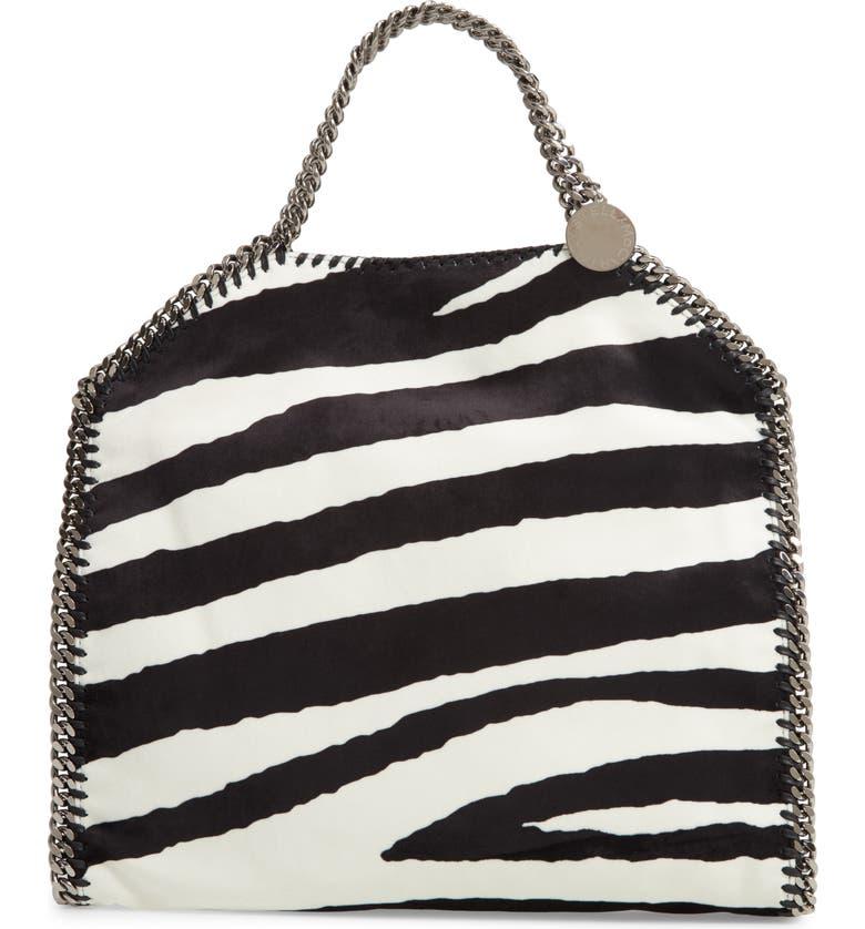 STELLA MCCARTNEY Small Falabella Zebra Print Velvet Tote, Main, color, 900