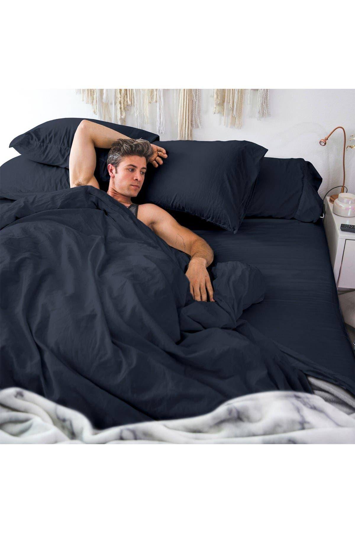 Image of Pillow Guy Classic Cool & Crisp Cotton Percale 4-Piece Sheet Set - Dark Navy  - Cal King Size