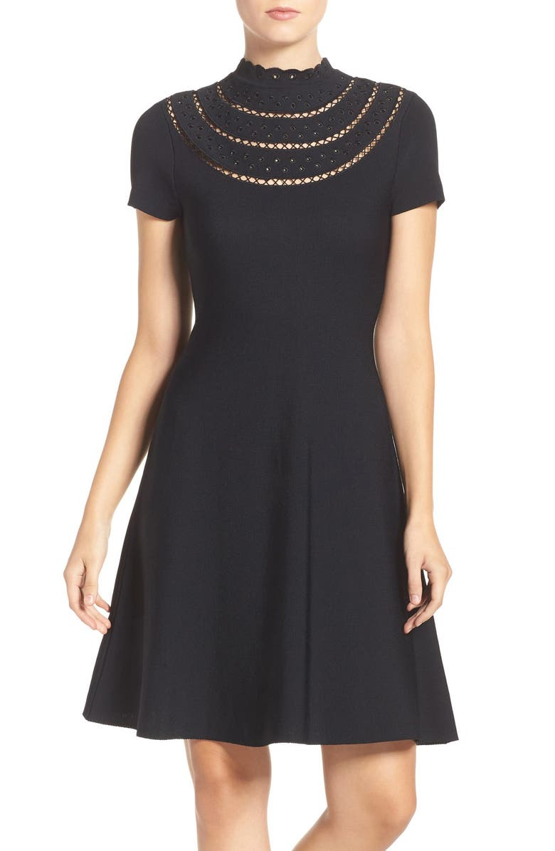 ELIZA J Cutout Fit & Flare Dress, Main, color, 001