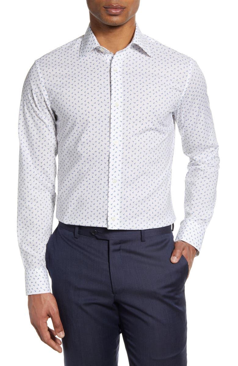 BONOBOS Slim Fit Martini Print Dress Shirt, Main, color, MARTINI DARK SURF