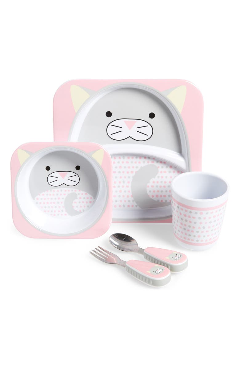 SKIP HOP Zoo Mealtime Plate, Bowl, Cup & Utensil Set, Main, color, MULTI
