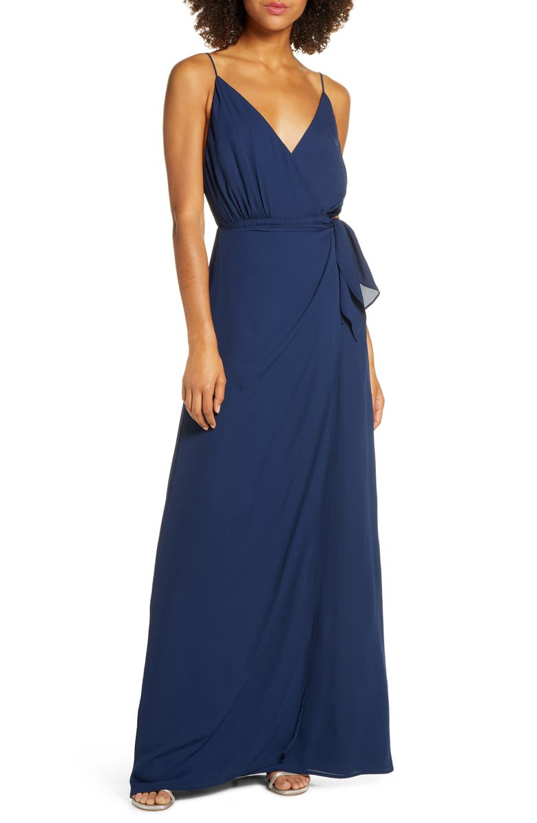 WAYF The Wynona Faux Wrap Gown, Main, color, NAVY