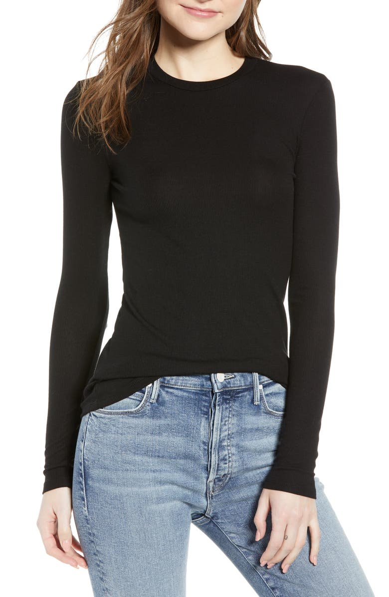 REFORMATION Parker Davy Ribbed Tee, Main, color, 001