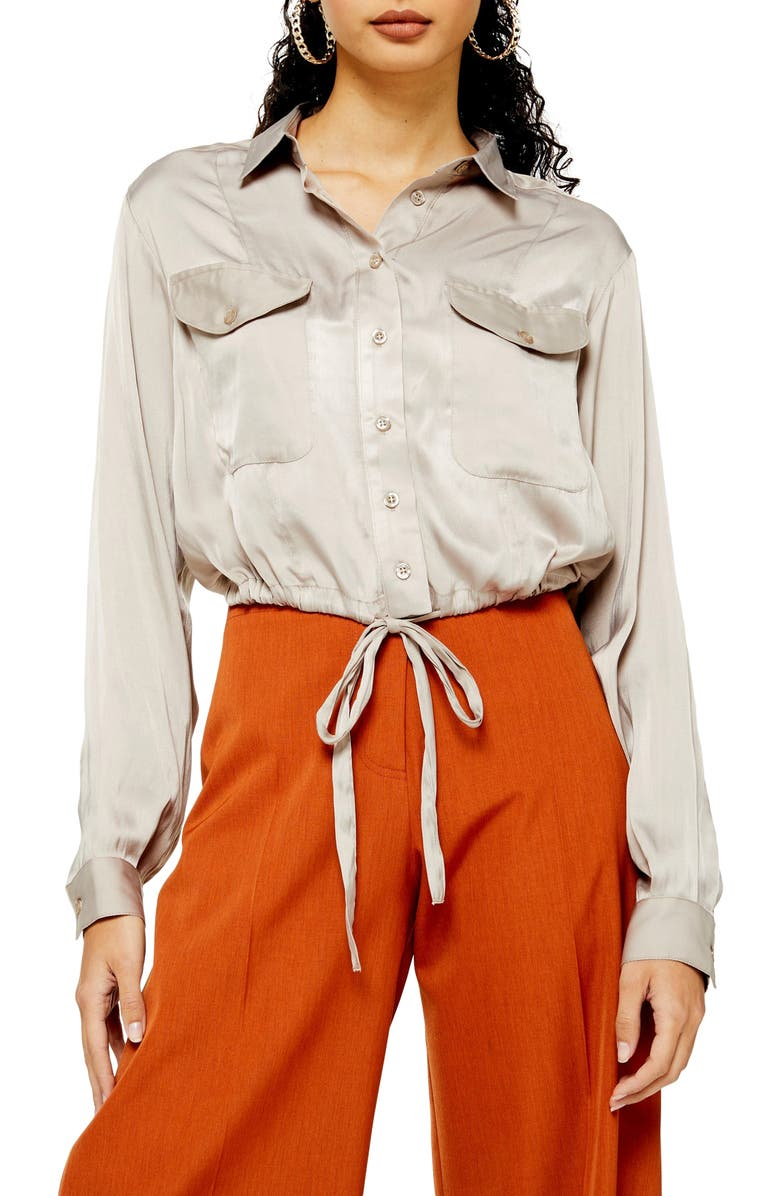TOPSHOP Drawstring Blouse, Main, color, BEIGE