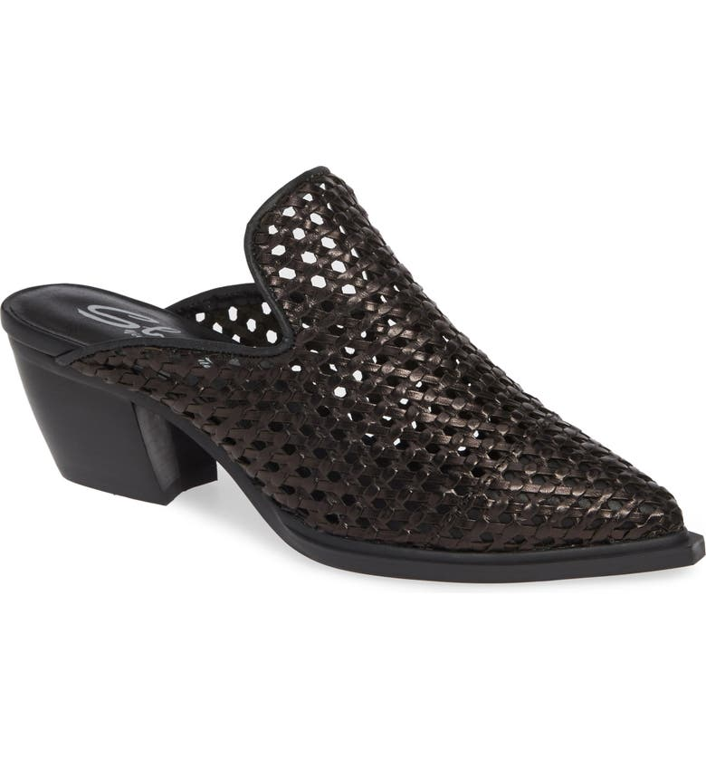 SBICCA Louise Woven Mule, Main, color, BLACK LEATHER
