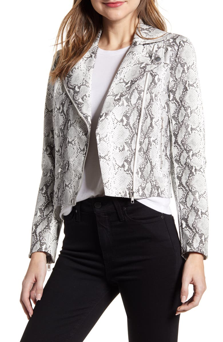CUPCAKES AND CASHMERE Beatrix Snake Print Faux Leather Moto Jacket, Main, color, 100