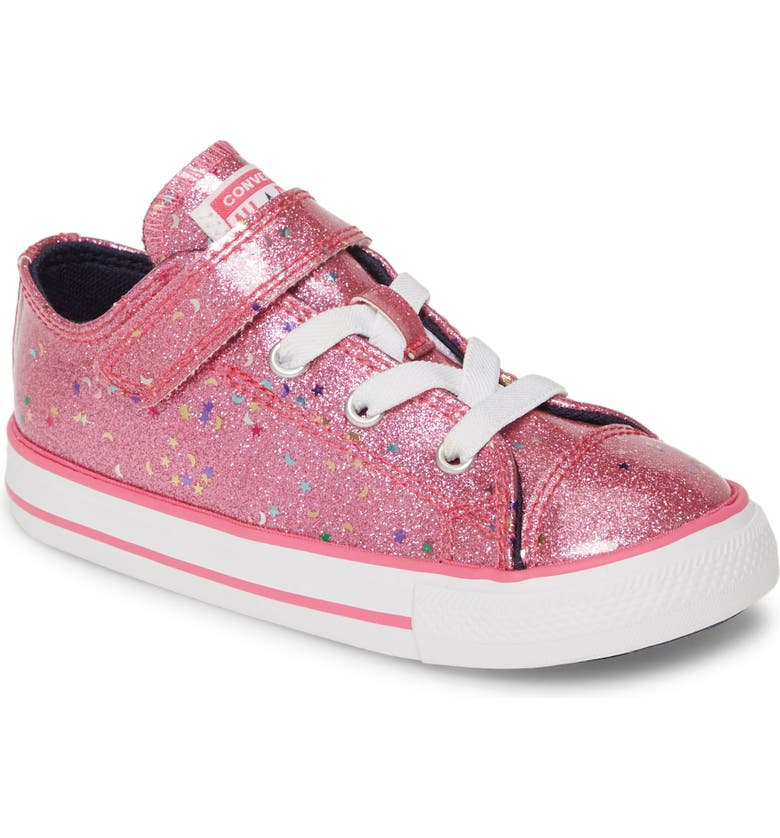 CONVERSE Chuck Taylor<sup>®</sup> All Star<sup>®</sup> 1V Glitter Galaxy Low Top Sneaker, Main, color, MOD PINK/ OZONE BLUE/ WHITE
