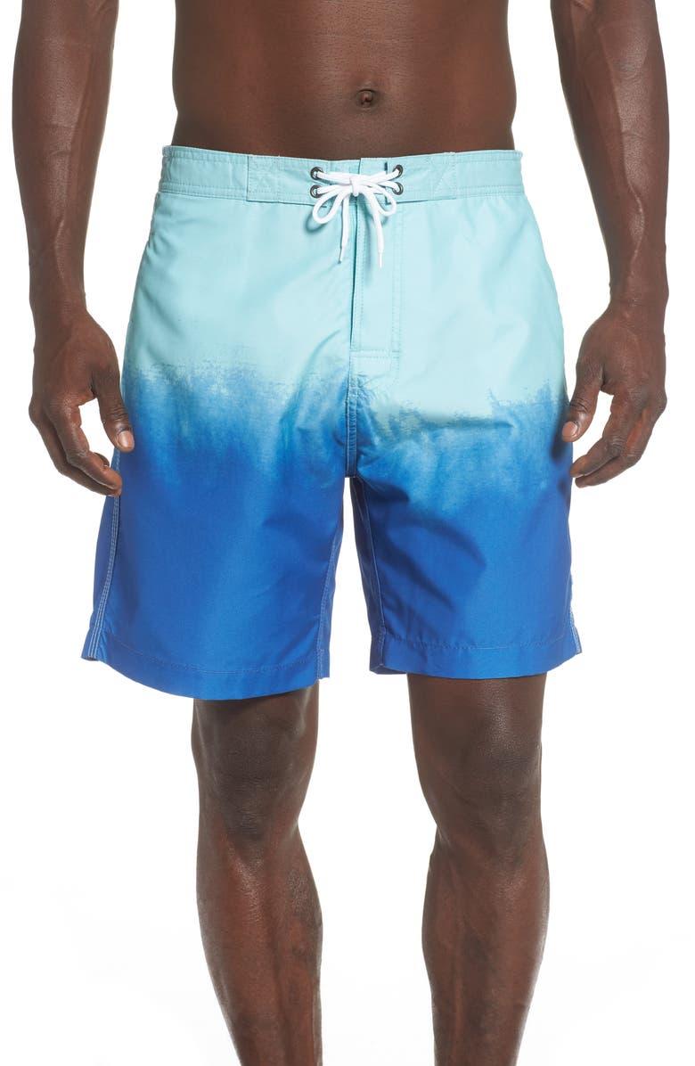 TRUNKS SURF & SWIM CO. Dip Dye Sano Board Sorts, Main, color, PLACID BLUE/ MINTY ICE CREAM