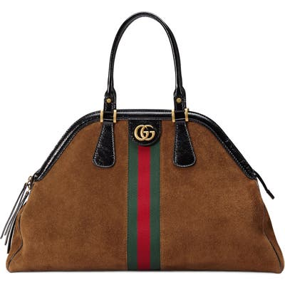 Gucci Large Re(Belle) Suede Satchel - Brown