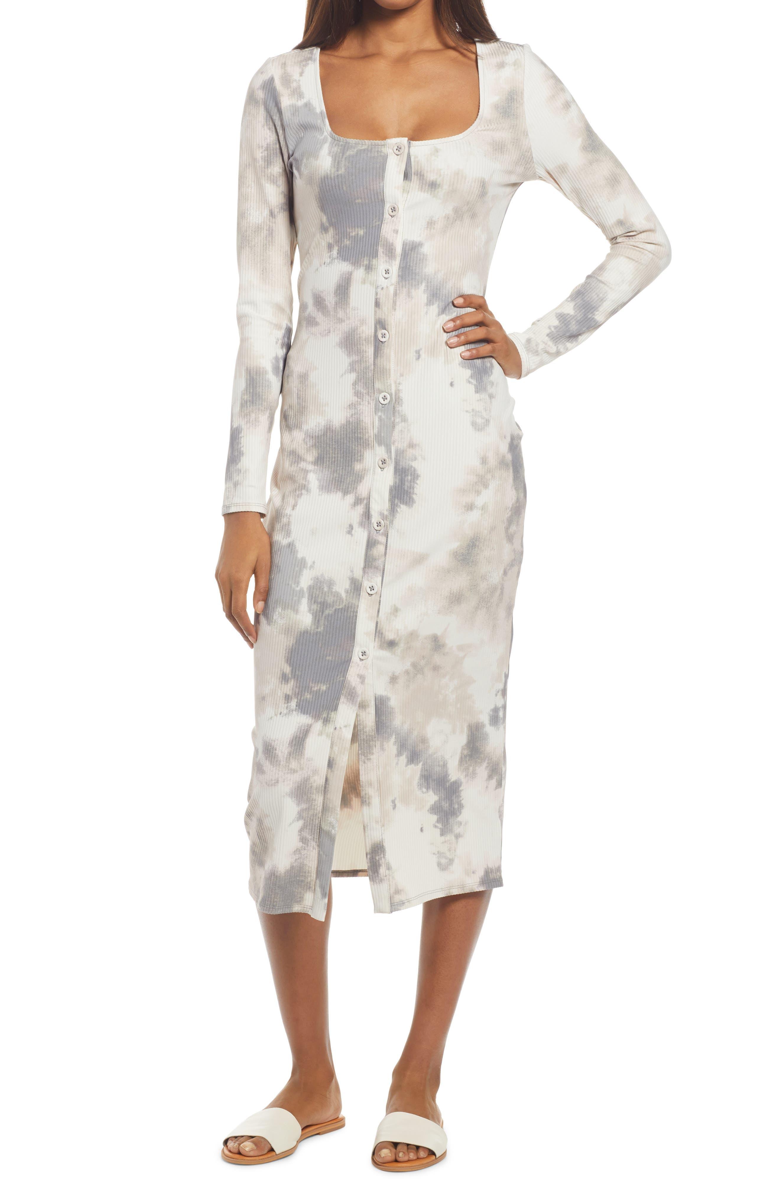 Square Neck Long Sleeve Midi Dress