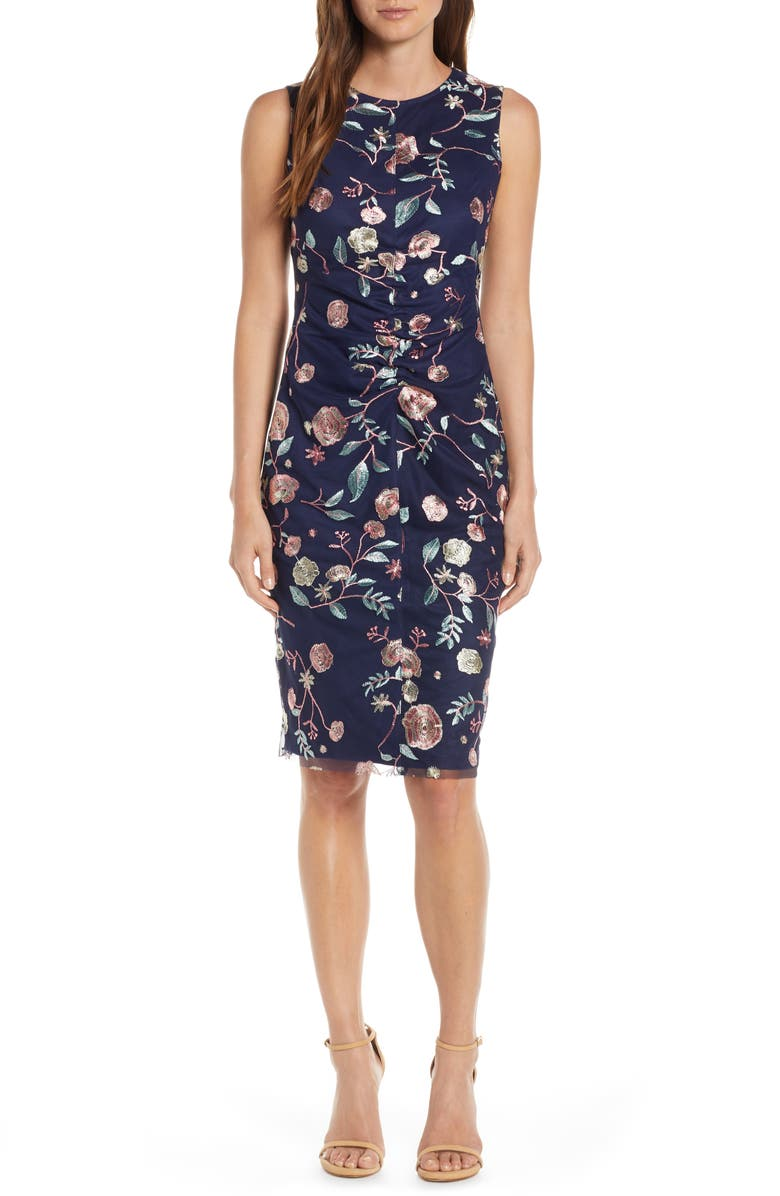 VINCE CAMUTO Embroidered Mesh Sheath Dress, Main, color, 410