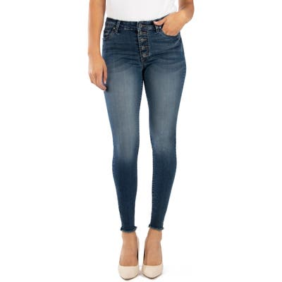 Kut From The Kloth Donna High Waist Frayed Hem Ankle Skinny Jeans, Blue