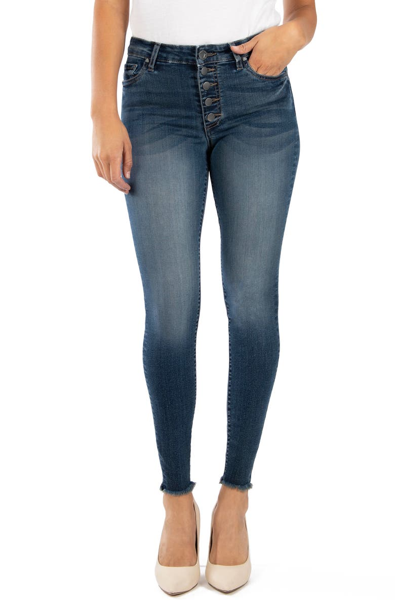 KUT FROM THE KLOTH Donna High Waist Frayed Hem Ankle Skinny Jeans, Main, color, 410