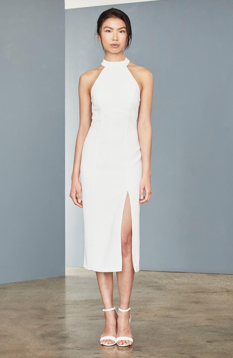 AMSALE Sheer Back Faille Sheath Dress, Main, color, IVORY