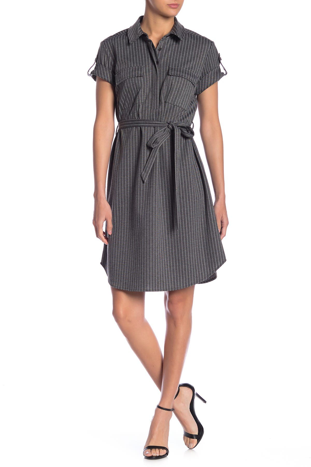 Image of Nanette Lepore Striped Short Sleeve Shirt Dress