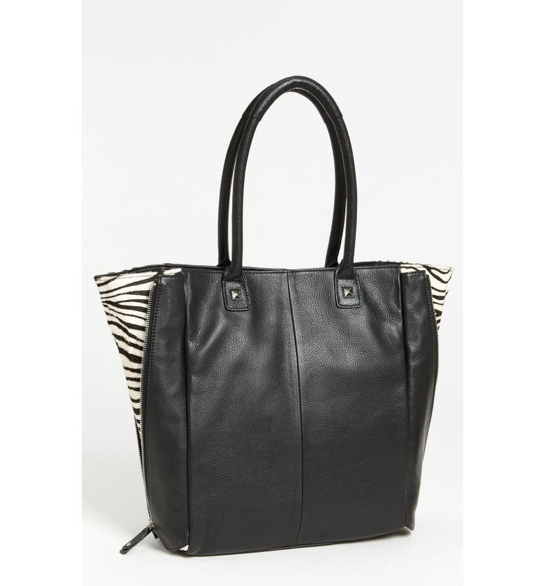 HALOGEN<SUP>®</SUP> Calf Hair Zip Out Leather Tote, Main, color, 001